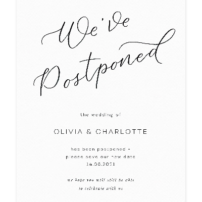 Postponing? Do it in style with Papier's chic cards