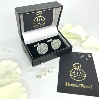 10 per cent off all Harris Tweed® cuff links and hip flasks from Tweedie Bags