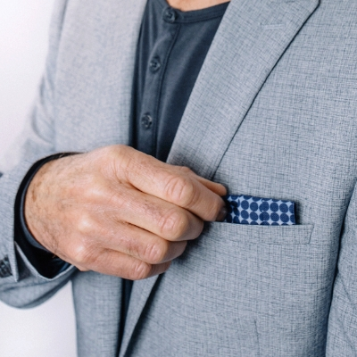 All in one - men's face mask and stylish silk pocket square!