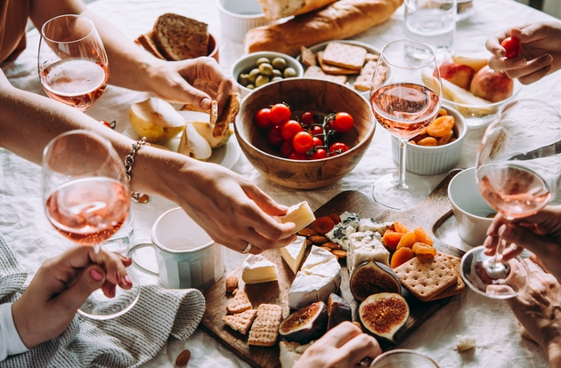 Private virtual wine tasting with rose wine and grazing food led by The Wine Workshop London