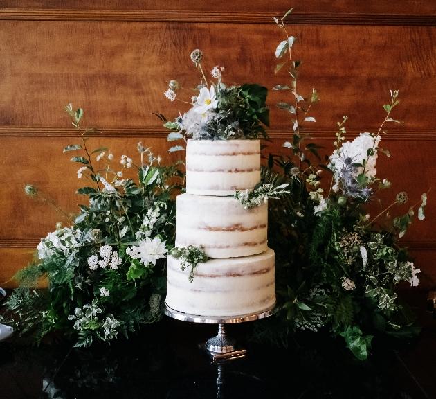 Cake surrounded with foliage
