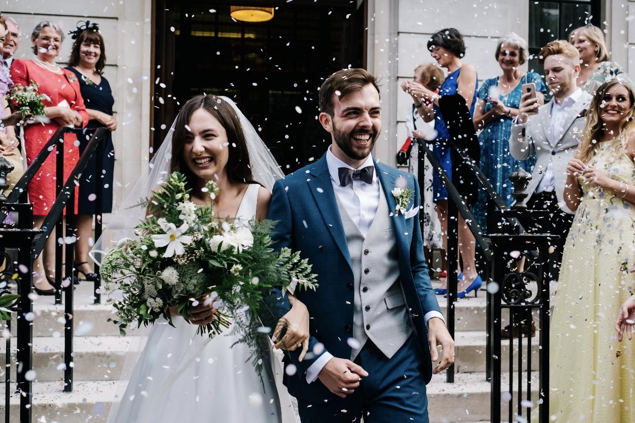 Couple covered in confetti