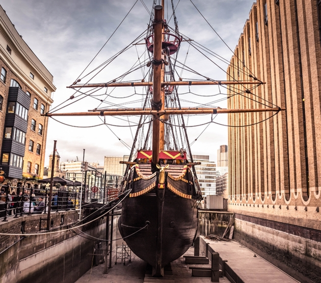 Exterior of iconic London attraction and wedding venue The Golden Hinde boat docked in London
