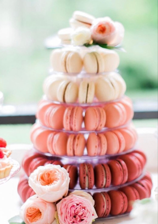 Pink macaron tower for wedding