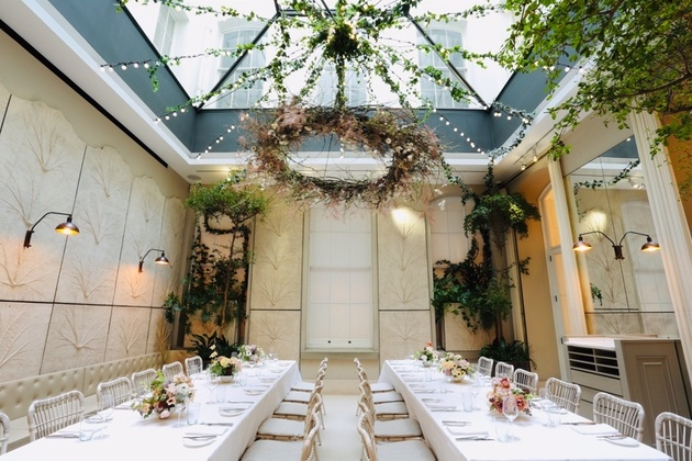Skye Gyngell's Spring restaurant at Somerset House set up for a small wedding breakfast