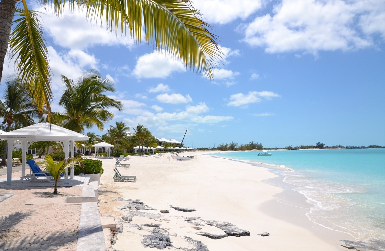 White sandy beach in The Bahamas.