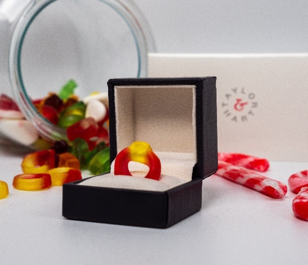Haribo Starmix jelly ring in a ring box, the inspiration for London jeweller Taylor & Hart
