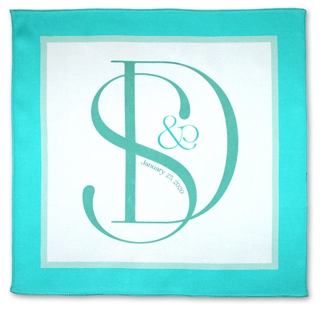 open pocket square with initials