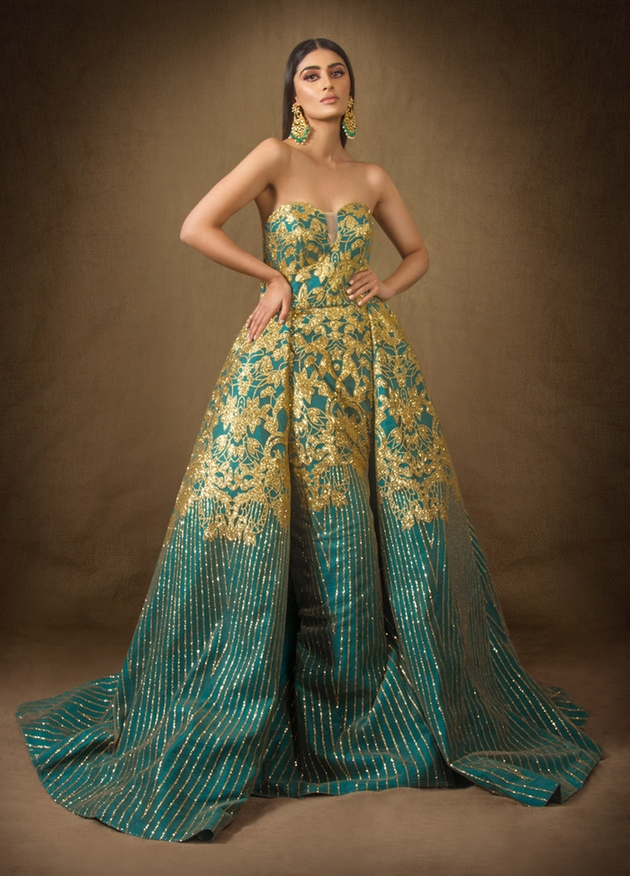 Turquoise and gold ballgown by designer Oorvi Desai.