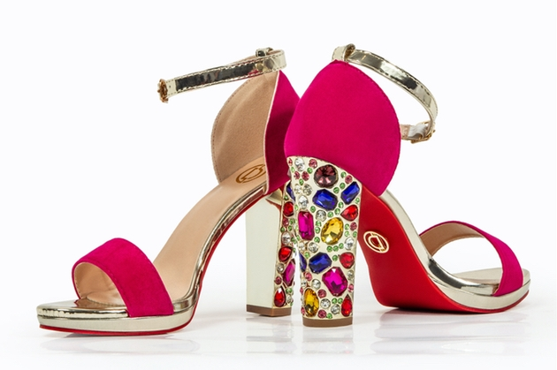 Shoes by Oorvi Desai with jewel detail