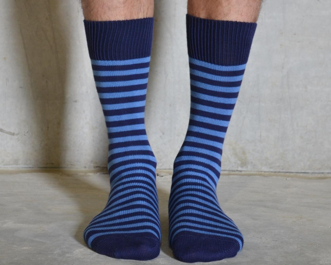 blue stripey socks