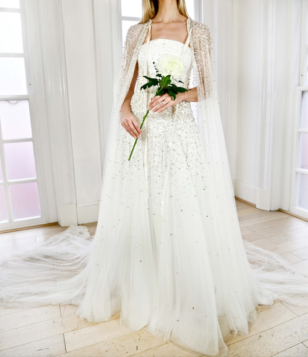 Jenny Packham wedding dress and bridal cape from The Loop.