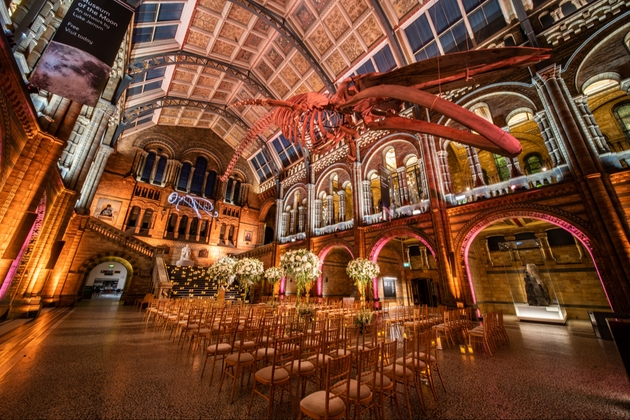 Hintze Hall at Natural History Museum ready for a wedding
