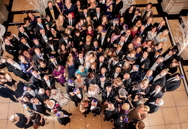 wedding group shot from aerial view